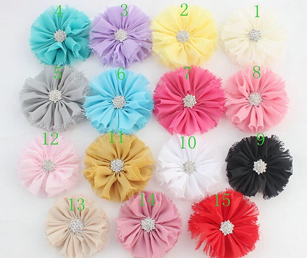 LEECO Mixed Colors Flat-bottomed Beautiful DIY Handmade Decorative Chiffon sanded Flowers with Tassel for Hair Clips, Scrapbooking and Decoration,Diamond rough edge Flowers 10Pcs