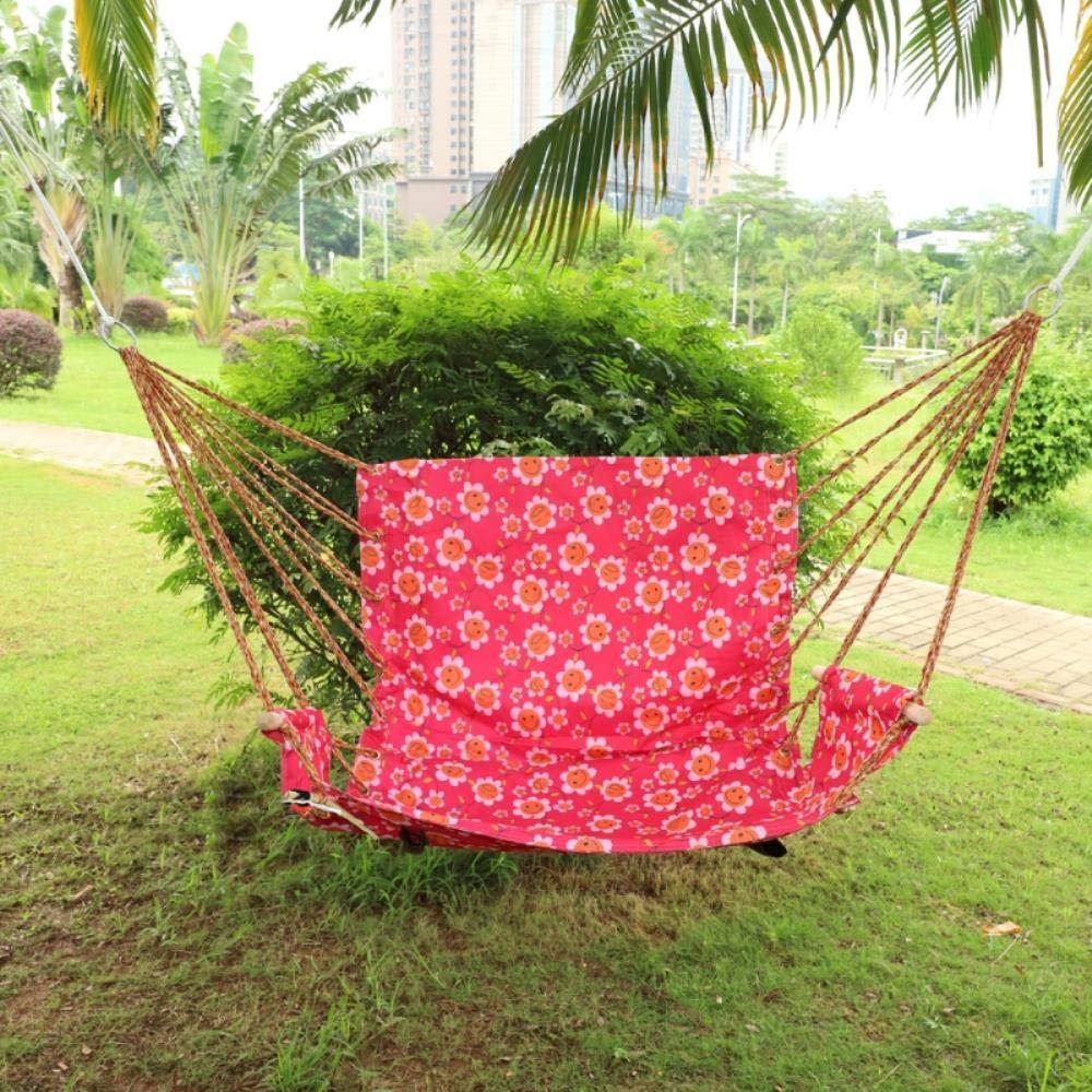 KKRIIS Silla de Hamaca Colgante a Rayas de algodón al Aire Libre Jardín Colgando Columpio Asiento Porche Rosa con Flores, Flores Rosas: Amazon.es: Hogar