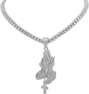 White Gold-Tone Iced Out Hip Hop Bling 1 Praying Hands Cross Pendant with Row Stones Tennis Chain 16