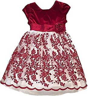 Girls Fancy Special Occasion Holiday or Party Sparkle Dress (10, Red Velvet White Lace Paisley)
