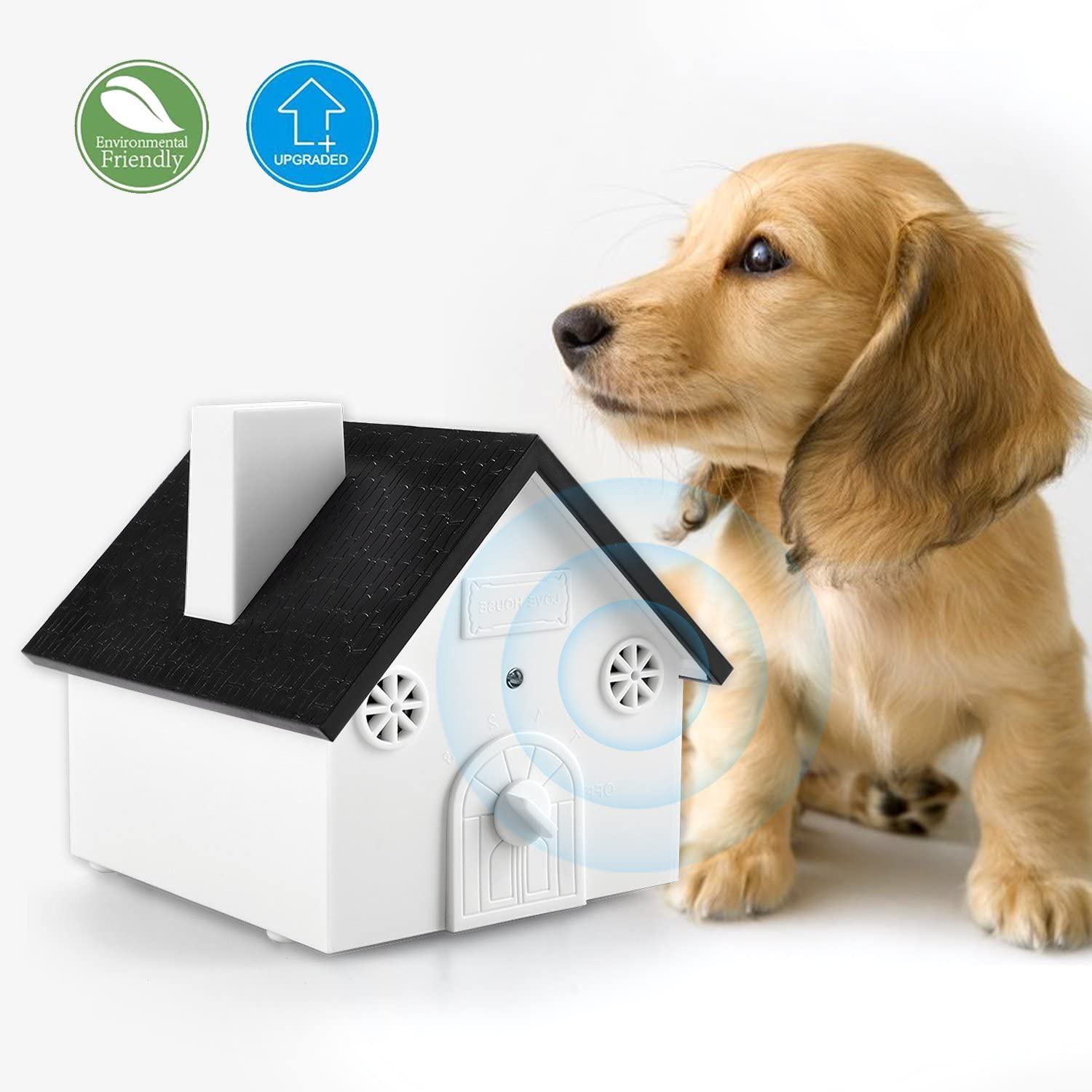 Homitem Ultrasonic Outdoor Bark Controller AntiBarking Devices Sonic Bark Deterrent by, No Harm to Dogs Or Other Pets,Plant,Human,Easy Hanging Mounting,3 Modes,Birdhouse Shaped(White)