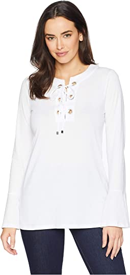 Grommet Lace-Up Bell Sleeve