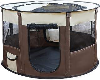 ペット 八角形 ケージ メッシュサークル 折り畳み式 110*60cm 持ち運べに便利 ブラウン 軽量 防水 ペットテント ハウス ペット用ケージ サークル ケージ アウトドア コンパクト 犬 猫