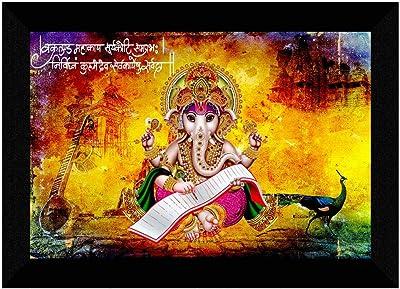 SAF Ganesha UV Textured Digital Reprint Home Decorative Gift Item Framed Painting 14 Inch X 20 Inch SANFM30949