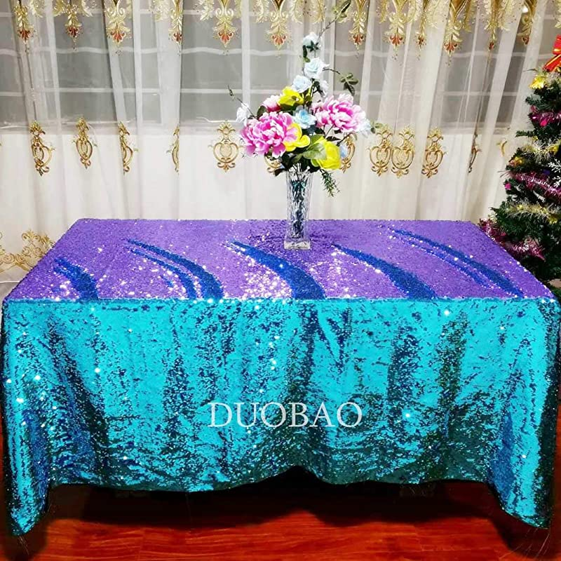 DUOBAO Mermaid Table Cloths Aqua To Lavender Tablecover Sequin Tablecloth 50x50 Inch Table Cover Decorations For Party Sequin Overlay Sparkly Linen