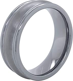 Tantalum 7mm Brushed Matte Dual Finish Concave Channel Comfort-Fit Men's Wedding Band Ring with High-Polish Edges