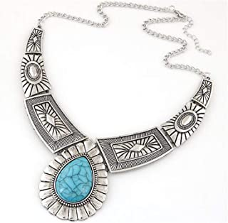 Wholesale Fashion Maxi Necklace Vintage Gem Geometric Thread Statement Necklaces & Pendants for Women Collar XY-N12