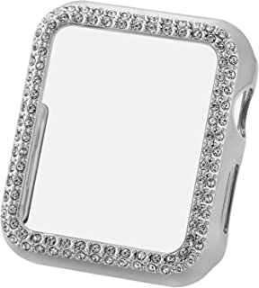 Greaciary Sparkle Compatible with Apple Watch 38mm,Compatible with iWatch Face Bling Crystal Diamond Plate Cover Protective Frame for Apple Watch 3/2/1 Women(Double Rhinestone-Silver, 38mm)