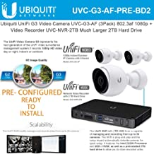 Ubiquiti UniFi G3 Video Camera UVC-G3-AF (3-Pack) 1080p with Unifi Video Recorder UVC-NVR-2TB 2TB Hard Drive - Pre-Configured/Ready to Install -