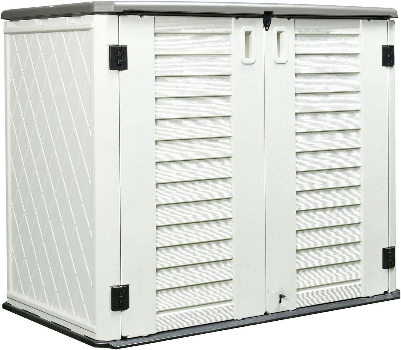 ADDOK Outdoor Storage Shed Multi-Function, 4.2 x 3.4 Foot Lockable Horizontal Storage Unit Weather Resistance, Thick HDEP Resin Storage Cabinet for Backyards, Patio, Garden (Off-White shed)