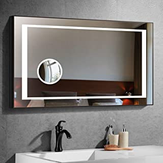 Bathroom Wall Mirrors for Over Sink, Frameless Mirror for Bathroom, Bedroom, Lighted LED Backlit Wall Mounted Mirror, Make Up Mirror with Circular Magnifier and Touch Button, 40 x 28 In E-CK208F