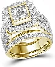 Jewel Tie 14k Yellow Gold Princess Cut Diamond Bridal Square Shape Solitaire Halo Engagement Ring Wedding Band Set (4.0 cttw.)