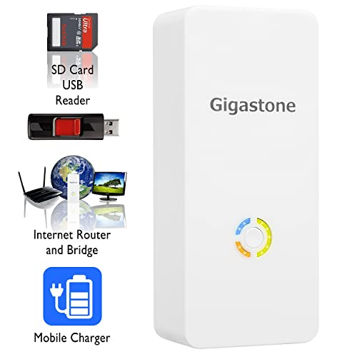 Gigastone Media Streamer Plus: Wireless SD Card & USB Flash Drive Reader; Wireless Mobile Storage Drive & Media Streamer; WLAN Hotspot & NAS File Server; Built-In 5200mAh Battery Pack to Recharge Portable Electronic Devices - Perfect for Traveling