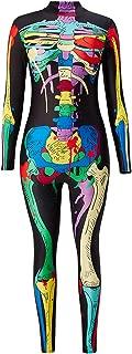 uideazone Halloween Costume for Women Skeleton Cosplay Bodysuit Long Sleeve Skinny Catsuit Jumpsuit