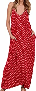 Women V-Neck Polka Dot Print Spaghetti Strap Boho Long Maxi Dresses