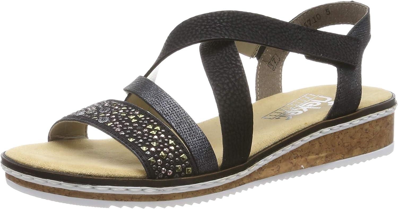 Quality inspection Rieker Women's V3663-00 Closed Schwarz Nig Sandals High quality new Toe