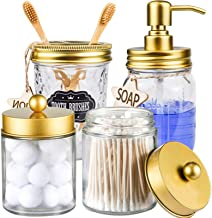 CAPMESSO Mason Jar Bathroom Accessories Set 4 Pcs - Mason Jar Soap Dispenser & 2 Apothecary Jars & Toothbrush Holder - Rus...
