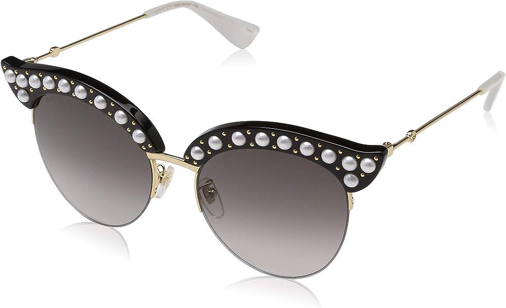 Gucci, occhiali da sole da donna,  forma a occhio di gatto,  in acetato nero tempestato di perle bianche GG0212S