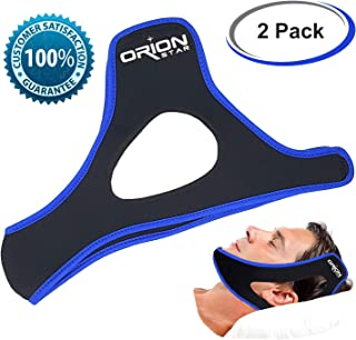 Anti Snore Chin Strap - Adjustable Head Band Snoring Solution for Better Sleep - Snore Stopper Sleep Aid for Men or Women (2 Pack)