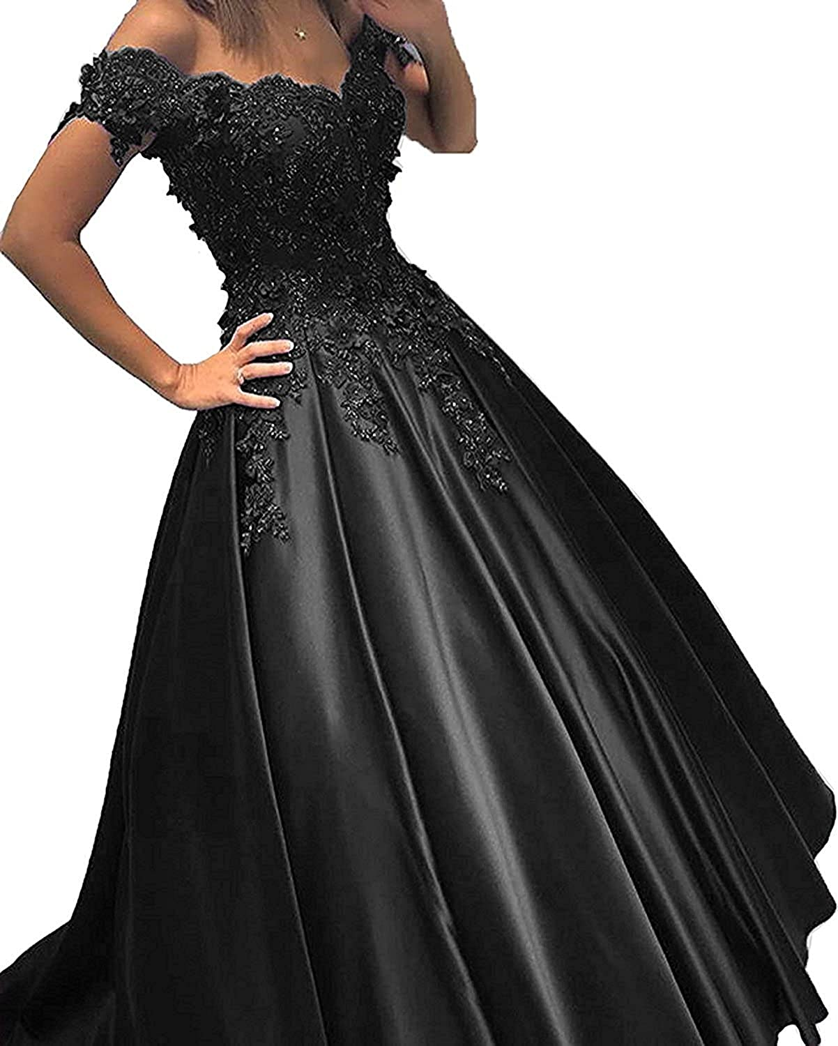 Bonnie Women's Off The Shoulder Prom Dreeses Long 2018 Lace Illusion Long Sleeves Formal Ball Gown BS035