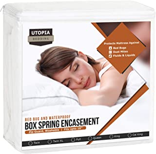 Utopia Bedding Box Spring Encasement – Bed Bug Proof Protector – Knitted Mattress Cover (King).
