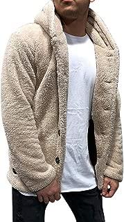 Sunward Coat for Men,Men's Autumn Winter Solid Color Cardigan Casual Blouse Fleece Tops Coat