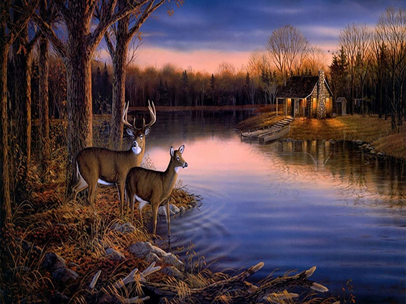 5D Diamond Painting Full Drill Kits for Adults, Kingshalor DIY Deer Diamond Embroidery Arts Craft Picture for Home Room Wall Decor, 16x12inch (Deer)
