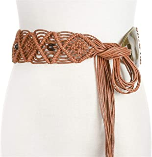 MYCHOMEUU New Ethnic Style Hand-Woven Wax Rope Belt with Long Skirt Skirt with Dress Waist Chain (Color : Brown)