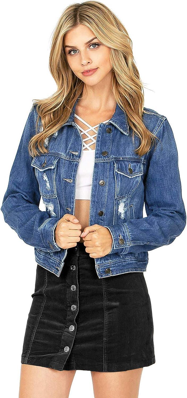CelebrityPink Women's Juniors Boxy Distressed Classic Denim Jacket