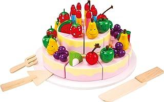 small foot 7794 skär födelsedagstårta av trä, tillbehör för barnkök, tårtbitar med kardborrband, från 3 år