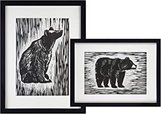 7eGrace Black Bear Woodcut Art Prints Black and White Hand Painted with Water Color Unframed 8''x10'' Wall Art Decor Set of 2