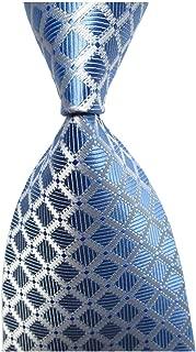 Men's Classic Checks Light Blue Jacquard Woven Silk Tie Necktie for men