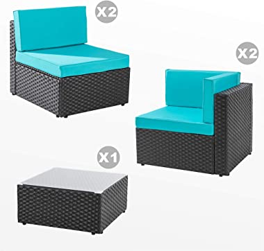 Walsunny 5 Pieces Patio Outdoor Furniture Sets,Low Back All-Weather Rattan Sectional Sofa with Tea Table&Washable Couch C