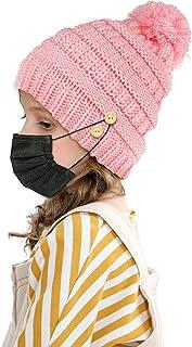 قبعة صغيرة للبنات مع 4 أزرار لتثبيت غطاء الوجه، قبعة شتوية للأطفال الصغار سويت بيج بوم