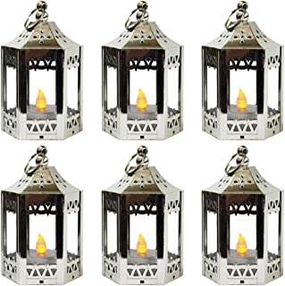 Vela Lanterns Mini Candle Lantern with Flickering LED Tea Light Candle, Batteries Included, Silver, Set of 6