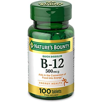 Vitamin B12 by Nature's Bounty, Quick Dissolve Vitamin Supplement, Supports Energy Metabolism and Nervous System Health, 500mcg, 100 Tablets