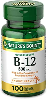 Vitamin B12 by Nature's Bounty, Quick Dissolve Vitamin Supplement, Supports Energy Metabolism and Nervous System Health, 5...