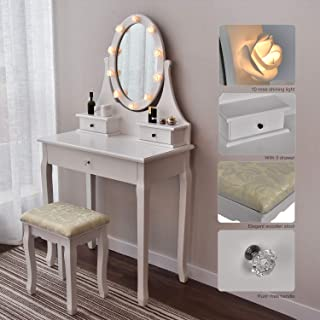 Makeup Vanity Table Set Mirror with LED Lights Dressing Table and Stool Set with Drawers Removable Top Organizer Multi-Functional Writing Desk Padded Stool Large Bedroom Vanities Tables with Benches
