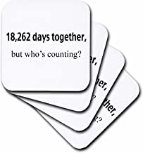 3dRose Happy Anniversary - 18,262 Days Together, But Whos Counting - Ceramic Tile Coasters, Set of 4 (CST_203234_3)