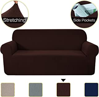 1-Piece Stretch Soft Sofa Covers with Elastic Bottom, Durable Spandex Jacquard Fabric Sofa Slipcover Couch Cover, Machine Washable Furniture Protector with Pockets(Sofa, Brown)