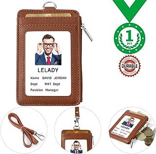 Id Badge Holder Lanyard Leather ID Card Holder Work Badge Holder Wallet with 5 Card Slots 1 Side RFID Blocking Pocket 22