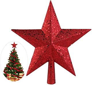 NICEXMAS Christmas Tree Toppers Star Treasures Glittered Decoration Ornament, 9 inch (Red)