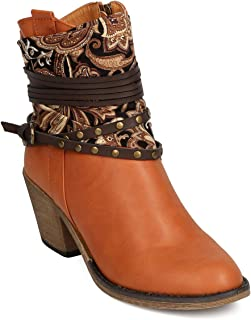 Nature Breeze Women Leatherette Paisley Wraparound Studded Cowboy Bootie FF18