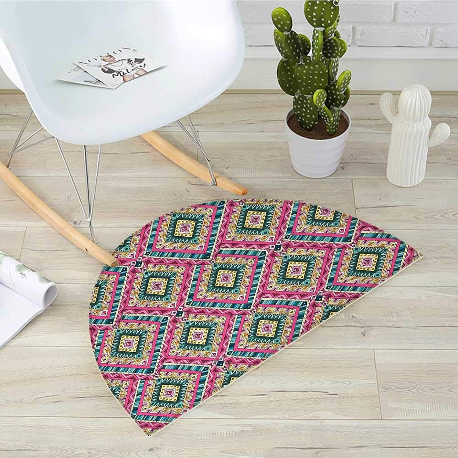 Asian Half Round Door mats Traditional Ethnic Geometric Doodle Like Pattern Ancient Tribal Motifs Vintage Style Bathroom Mat H 35.4  xD 53.1  Multicolor