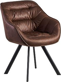 Wohnling Silla de comedor con aspecto de ante marrón tapizada | Silla de cocina con patas negras | Moderna silla con reposabrazos | Silla tapizada de diseño