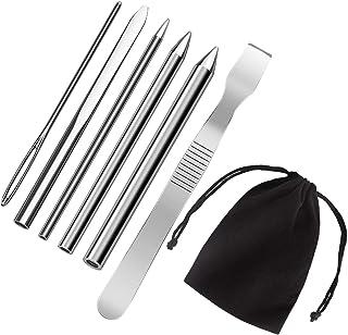 AIEX 6pcs Paracord FID Acero inoxidable Paracord Cordón Agujas de costura con herramienta de suavizado para suministros de bricolaje artesanal (Plata)