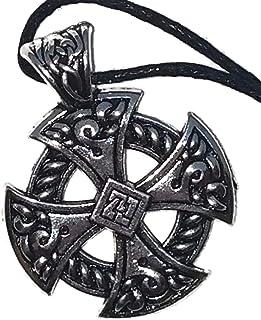 Viking Shield Knot Antiqued Silver-Tone Black Cord Necklace Men Women