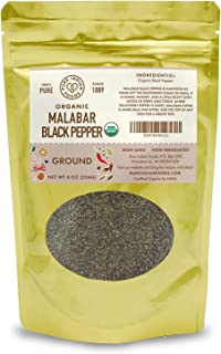 Malabar Black Pepper Fine Ground - Certified Organic - Non-GMO, Non-Irradiated