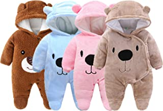 Urban Virgin Cute Baby Toddler Newborn Girls Boys Bear Bodysuit Snowsuit Warm Fleece Hooded Jumpsuit Romper Winter Outfits