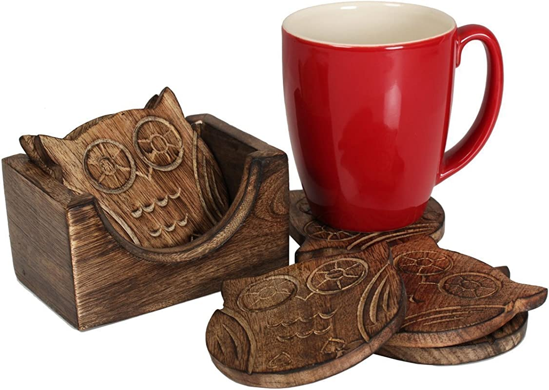 Set Of 6 Wooden Owl Coasters For Drink Tea Coffee Table White Distressed Coaster With Holder Stand